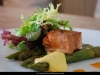 Grill asparagus with smoked salmon steak in citrus sauce