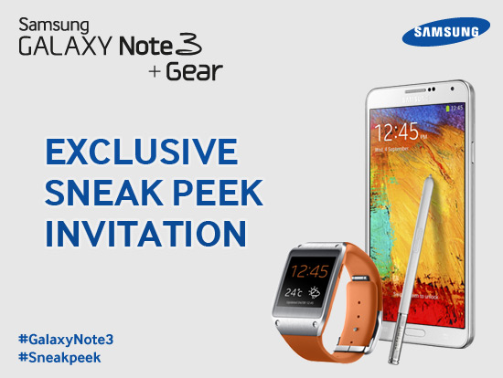 Samsung GALAXY Note 3 Gear Invite Dubai UAE